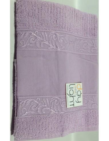 Coppia asciugamani Alessandra con inserto in tela aida da ricamare lilla