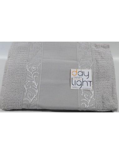 Coppia asciugamani Alessandra con inserto in tela aida da ricamare  perla