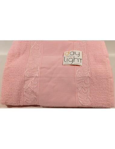 Coppia asciugamani Alessandra con inserto in tela aida da ricamare rosa