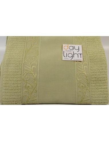 Coppia asciugamani Alessandra con inserto in tela aida da ricamare verde