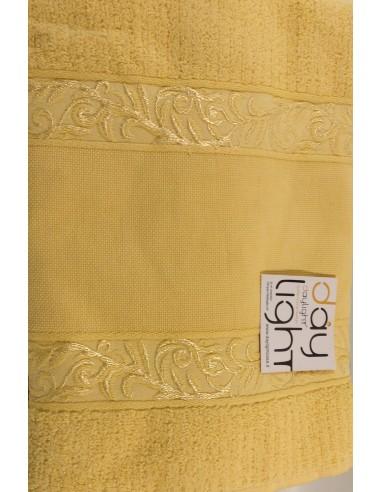 Coppia asciugamani Alessandra con inserto in tela aida da ricamare giallo