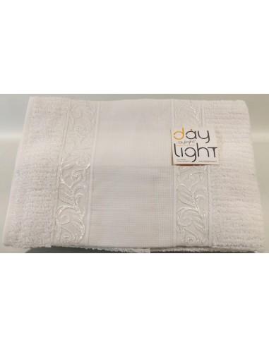 Coppia asciugamani Alessandra con inserto in tela aida da ricamare bianco