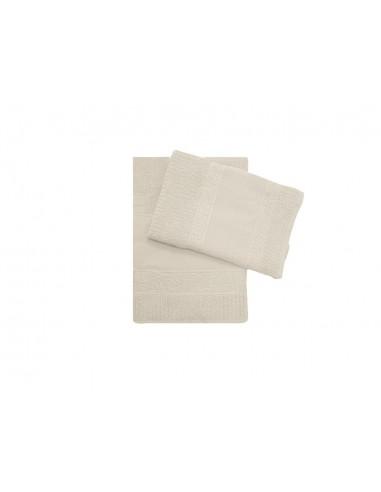 Coppia asciugamani Alessandra con inserto in tela aida da ricamare  panna